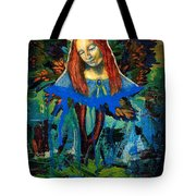 Blue Madonna In Tree Tote Bag