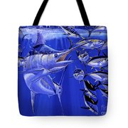 Blue Marlin Round Up Off0031 Tote Bag by Carey Chen