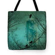 Angel And Crows In A Blue Mist Tote Bag