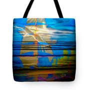 Blue Moonlight With Seagull And Sails Tote Bag