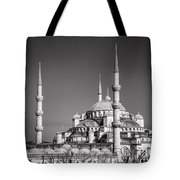 Blue Mosque Black And White Tote Bag