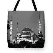 Blue Mosque In Black And White Tote Bag