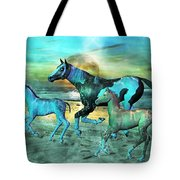 Blue Ocean Horses Tote Bag