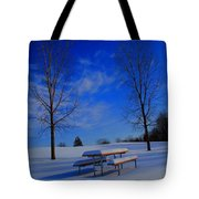 Blue On A Snowy Day Tote Bag