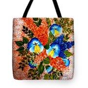 Blue Pansies Bouquet Tote Bag