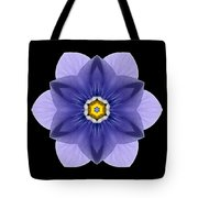 Blue Pansy I Flower Mandala Tote Bag