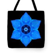 Blue Pansy II Flower Mandala Tote Bag by David J Bookbinder