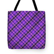 Blue Pink And Black Diagnal Plaid Cloth Background Tote Bag