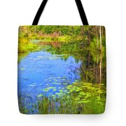 Blue Pond And Water Lilies Tote Bag