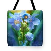 Blue Poppy Bouquet - Square Tote Bag
