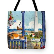 Blue Porch With Cat Tote Bag