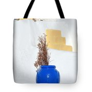 Blue Pot In Oia Town Tote Bag