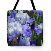 Blue Purple Irises Flowers Art Prints Tote Bag