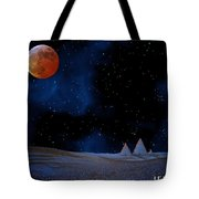 Blue Pyramids With Orange Moon Tote Bag