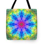 Blue Rainbow Star Mandala Tote Bag