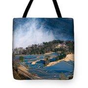 Blue Rice Terrace Tote Bag