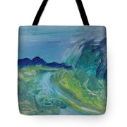 Blue River Landscape I, 1988 Oil On Canvas Tote Bag