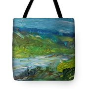 Blue River Landscape II, 1988 Oil On Canvas Tote Bag