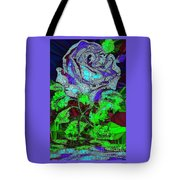 Blue Rose In Glass Tote Bag