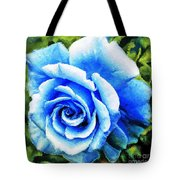 Blue Rose With Brushstrokes Tote Bag