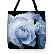 Blue Roses With Raindrops Tote Bag