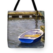 Blue Row Boat Tote Bag