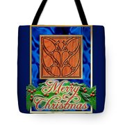 Blue Satin Merry Christmas Tote Bag