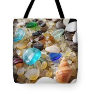 Blue Seaglass Art Prints Shells Agates Rocks Tote Bag