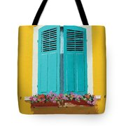 Blue Shutters And Flower Box Tote Bag
