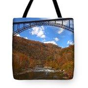 Blue Skies Over The New River Bridge Tote Bag