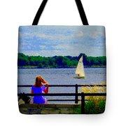Blue Skies White Sails Drifting Blonde Girl And Collie Watch River Run Lachine Scenes Carole Spandau Tote Bag