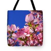 Blue Sky Art Prints Pink Dogwood Flowers Tote Bag