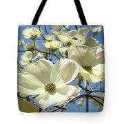 Blue Sky Spring White Dogwood Flowers Art Prints Tote Bag