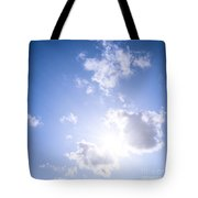 Blue Sky With Sun And Clouds Tote Bag by Elena Elisseeva