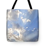 Blue Sky With Sun Rays Tote Bag