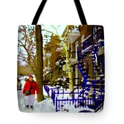 Blue Snowy Staircase And Birch Tree Montreal Winter City Scene Quebec Artist Carole Spandau Tote Bag