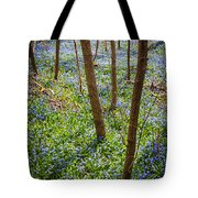 Blue Spring Flowers In Forest Tote Bag