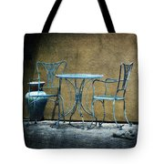 Blue Table And Chairs Tote Bag