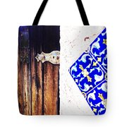 Blue Tile Brown Door 1 Tote Bag