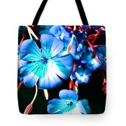 Blue Tint Flowers Tote Bag
