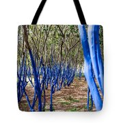 Blue Trees In Nature Tote Bag