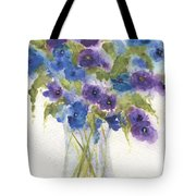 Blue Violet Flower Vase Tote Bag