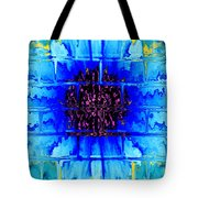 Blue Wallflower Abstract Tote Bag