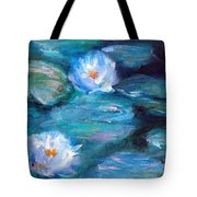 Blue Water Lilies Tote Bag by Lauren Heller