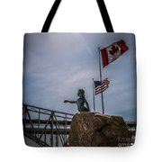 Blue Water Maiden In International Flag Plaza Tote Bag