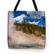Blue Water White Steam Tote Bag