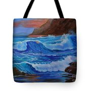 Blue Waves Hawaii Tote Bag