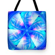 Blue Wheel Inflamed Abstract Tote Bag