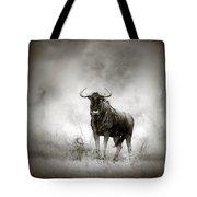 Blue Wildebeest In Rainstorm Tote Bag