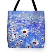 Blue With White Daisies Tote Bag